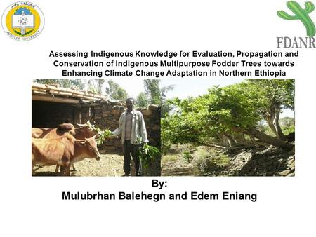 Assessing Indigenous Knowledge for Evaluation, Propagation and Conservation of Indigenous Multipurpose Fodder Trees towards Enhancing Climate Change Adaptation.