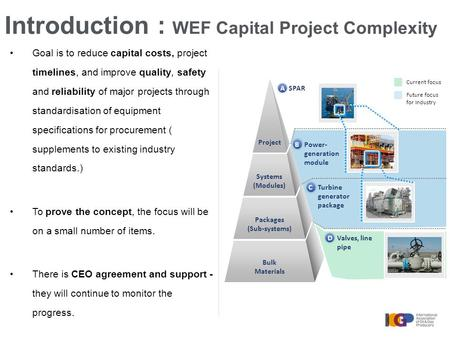 Introduction : WEF Capital Project Complexity AA Packages Bulk materials BB SPAR Power- generation module Turbine generator package CC Valves, line pipe.