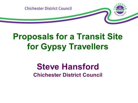 Proposals for a Transit Site for Gypsy Travellers Steve Hansford Chichester District Council.
