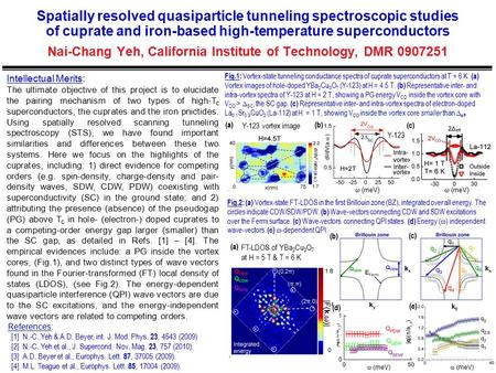 Spatially resolved quasiparticle tunneling spectroscopic studies of cuprate and iron-based high-temperature superconductors Nai-Chang Yeh, California Institute.