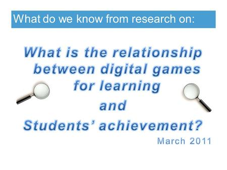 What do we know from research on:. Key points Students' academic achievement may be improved directly or indirectly by using educational, commercial or.