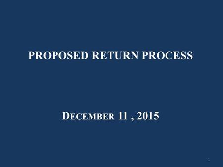PROPOSED RETURN PROCESS
