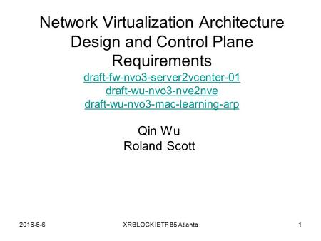 2016-6-6XRBLOCK IETF 85 Atlanta Network Virtualization Architecture Design and Control Plane Requirements draft-fw-nvo3-server2vcenter-01 draft-wu-nvo3-nve2nve.