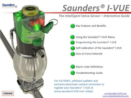 Saunders® I-VUE The Intelligent Valve Sensor – Interactive Guide Key Features and Benefits Programming the Saunders® I-VUE Alarm Code Definitions How to.
