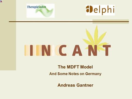 The MDFT Model And Some Notes on Germany Andreas Gantner.
