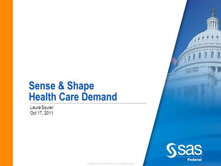 Copyright © 2010 SAS Institute Inc. All rights reserved. Sense & Shape Health Care Demand Laura Squier Oct 17, 2011.