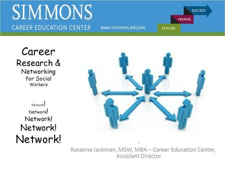Career Research & Networking for Social Workers Network ! Network ! Network! Network! Network! R Roxanne Jackman, MSW, MBA – Career Education Center, Assistant.