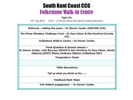 South Kent Coast CCG Folkestone Walk-in Centre Agenda 15 th July 2014 19.00 – 21.00 pm Three Hills Sports Centre Folkestone Welcome – setting the scene.