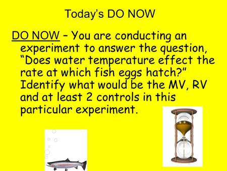"Today's DO NOW DO NOW – You are conducting an experiment to answer the question, ""Does water temperature effect the rate at which fish eggs hatch?"" Identify."