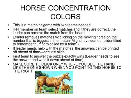 HORSE CONCENTRATION COLORS This is a matching game with two teams needed. 4-H member on team select matches and if they are correct, the leader can remove.