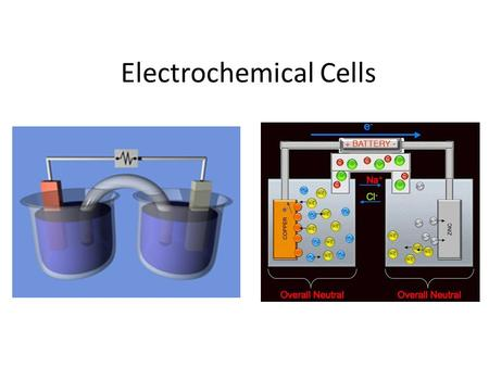 Electrochemical Cells. Electrochemical Electrochemical cells are a way of storing chemical potential energy. When batteries operate, electrons in high.