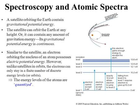 Spectroscopy and Atomic Spectra A satellite orbiting the Earth contain gravitational potential energy. The satellite can orbit the Earth at any height.