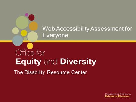 The Disability Resource Center Web Accessibility Assessment for Everyone.
