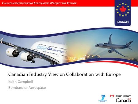 C ANADIAN N ETWORKING A ERONAUTICS P ROJECT FOR E UROPE Canadian Industry View on Collaboration with Europe Keith Campbell Bombardier Aerospace.