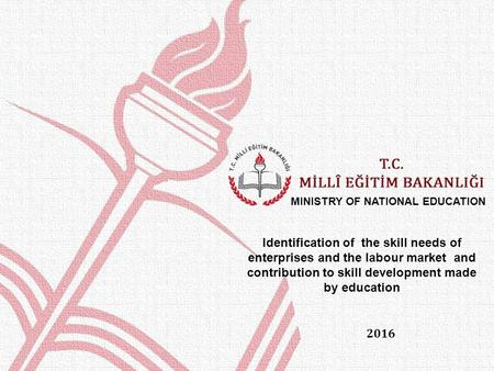 2016 MINISTRY OF NATIONAL EDUCATION Identification of the skill needs of enterprises and the labour market and contribution to skill development made by.
