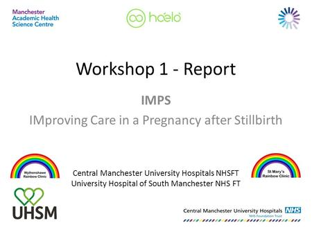 Workshop 1 - Report IMPS IMproving Care in a Pregnancy after Stillbirth Central Manchester University Hospitals NHSFT University Hospital of South Manchester.