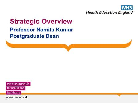 Strategic Overview Professor Namita Kumar Postgraduate Dean.