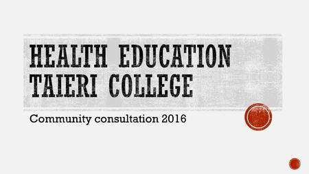 Community consultation 2016.  By law we have to:  inform the school community about the content of the health education components of the curriculum.
