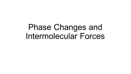 Phase Changes and Intermolecular Forces. Phases of Matter All matter is made of tiny solid particles—known as atoms— at the microscopic level. At the.