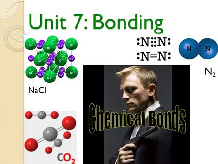 Unit 7: Bonding NaCl N2N2 Overview Chemical bonds provide the glue that hold compounds together… In this unit you will learn:  The different types of.
