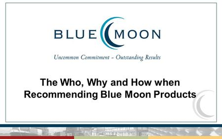 The Who, Why and How when Recommending Blue Moon Products.