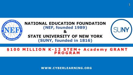 $100 MILLION K-12 STEM+ Academy GRANT PROGRAM WWW.CYBERLEARNING.ORG NATIONAL EDUCATION FOUNDATION (NEF, founded 1989) & STATE UNIVERSITY OF NEW YORK (SUNY,