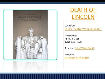 DEATH OF LINCOLN Location: Ford's Theatre Washington D.C. Time/Date: April 14, 1865 10:15 p.m. (EST) Assassin: John Wilkes BoothJohn Wilkes Booth Weapon: