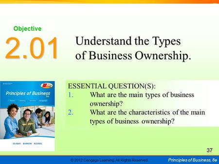 © 2012 Cengage Learning. All Rights Reserved. Principles of Business, 8e C H A P T E R 5 SLIDE 1 ESSENTIAL QUESTION(S): 1.What are the main types of business.