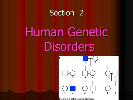 Section 2 Human Genetic Disorders. 1 st three terms…also in next 3 slides! Genetic disorder - an abnormal condition that a person inherits through genes.