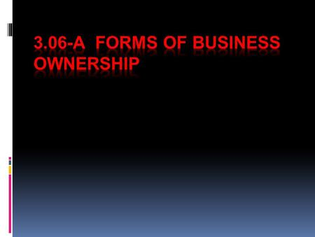 Objectives Summarize the advantages and disadvantages of the most common types of business ownership.