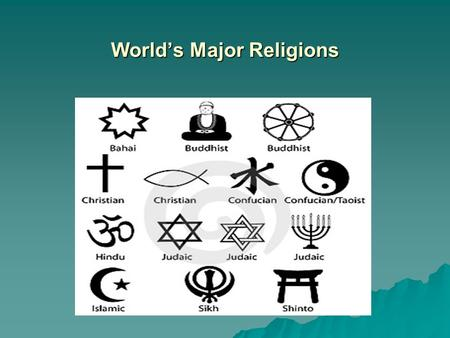 World's Major Religions. WHAT IS RELIGION? A SYSTEM OF ORGANIZED BELIEFS, PRACTICES, AND WORSHIP OF A SUPREME BEING OR BEINGS.