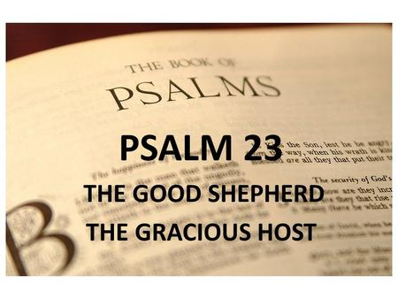 PSALM 1 PSALM 23 THE GOOD SHEPHERD THE GRACIOUS HOST.
