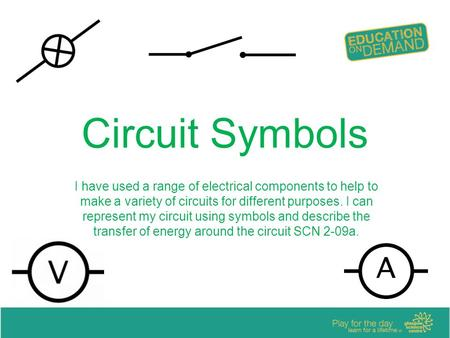 Circuit Symbols I have used a range of electrical components to help to make a variety of circuits for different purposes. I can represent my circuit using.