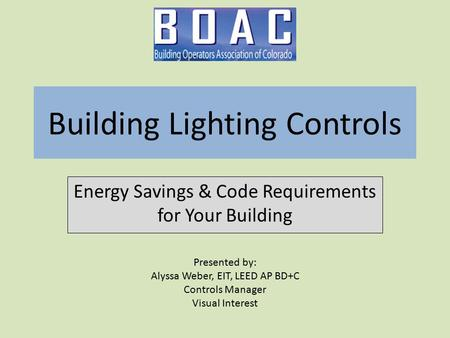 Building Lighting Controls