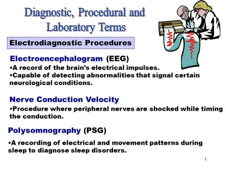 1 Electrodiagnostic Procedures Electroencephalogram (EEG) A record of the brain's electrical impulses. Capable of detecting abnormalities that signal.