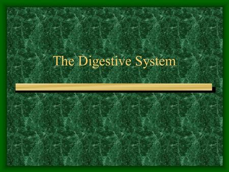 The Digestive System. Digestion The process of changing complex solid foods into simpler soluble forms which can be absorbed by body cells. Enzymes are.