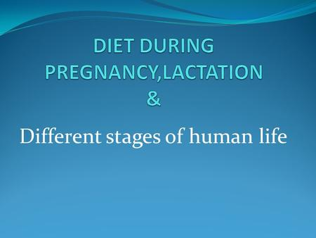 Different stages of human life. OBJECTIVES After studying this chapter, you should be able to: Identify nutritional needs during pregnancy and lactation.