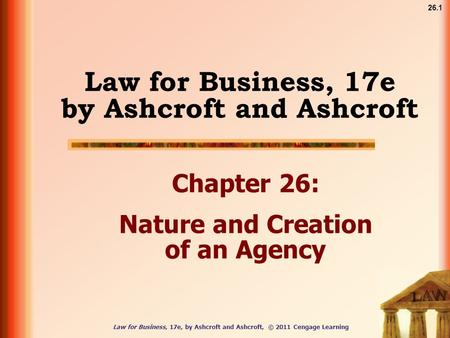 Law for Business, 17e, by Ashcroft and Ashcroft, © 2011 Cengage Learning 26.1 Law for Business, 17e by Ashcroft and Ashcroft Chapter 26: Nature and Creation.