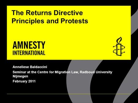 The Returns Directive Principles and Protests Anneliese Baldaccini Seminar at the Centre for Migration Law, Radboud University Nijmegen February 2011.