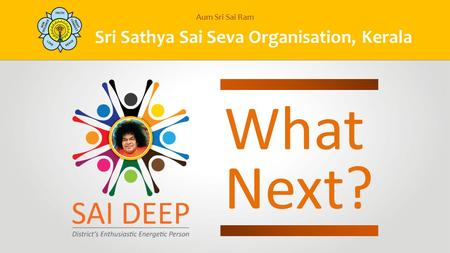 Sri Sathya Sai Seva Organisation, Kerala Aum Sri Sai Ram What Next?