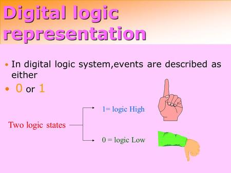 Digital logic representation In digital logic system,events are described as either 0 or 1 Two logic states 1= logic High 0 = logic Low.