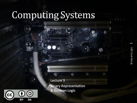 Computing Systems Lecture 3 Binary Representation & Boolean Logic Binary and Logic 1.