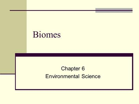 Biomes Chapter 6 Environmental Science. What is a Biome? Biome Large region with a specific type of climate and certain types of plants and animals (communities)