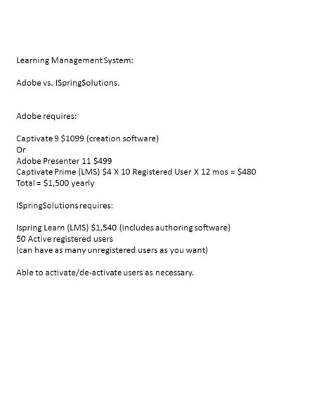 Learning Management System: Adobe vs. ISpringSolutions. Adobe requires: Captivate 9 $1099 (creation software) Or Adobe Presenter 11 $499 Captivate Prime.