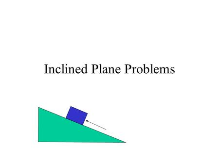 Inclined Plane Problems. Axes for Inclined Planes X axis is parallel to the inclined plane Y axis is perpendicular to the inclined plane Friction force.