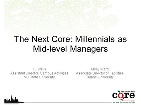 The Next Core: Millennials as Mid-level Managers TJ Willis Assistant Director, Campus Activities NC State University Molly Ward Associate Director of Facilities.
