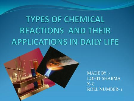 MADE BY :- LOHIT SHARMA X-C ROLL NUMBER- 1. CONTENTS...... WHAT IS A CHEMICAL REACTION.... TYPES OF CHEMICAL REACTION...... SOME MORE..... ELSE WHERE....