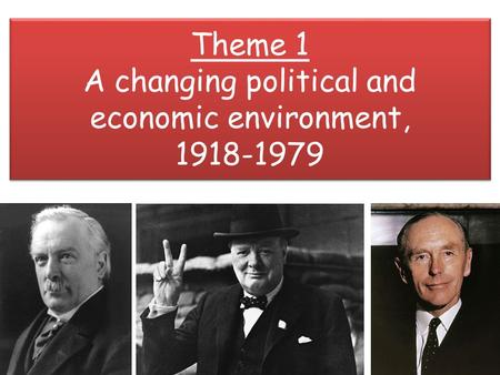 Theme 1 A changing political and economic environment, 1918-1979.