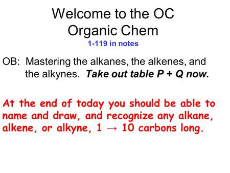 Welcome to the OC Organic Chem in notes