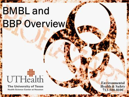 BMBL and BBP Overview Environmental Health & Safety 713-500-8100.